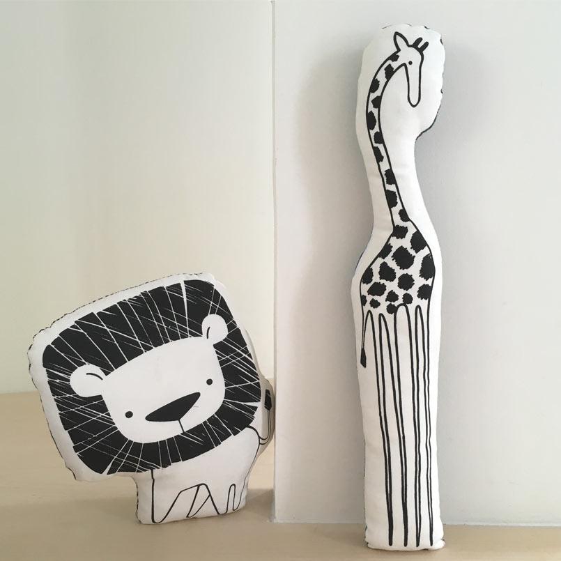 les folies douces - lion et girafe sérigraphie
