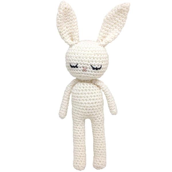 Une Pelote de laine - lapin en crochet blanc