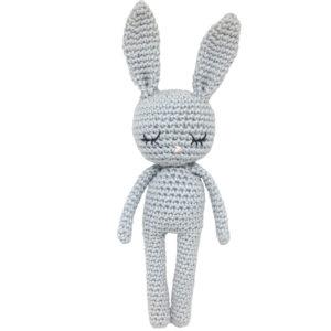 Une Pelote de laine - lapin en crochet bleu