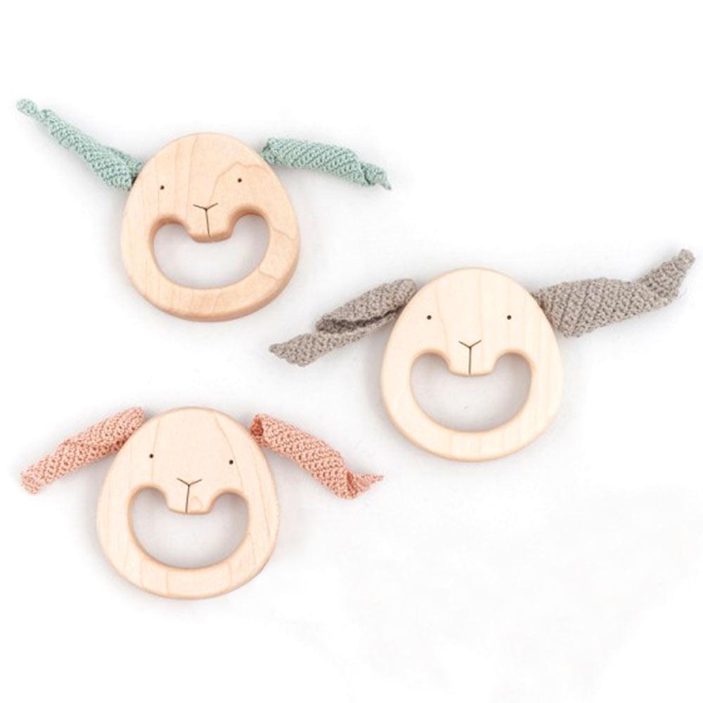 hochets - lapins en bois - créateur mielasiela