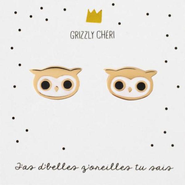 Grizzly cheri - boucles d'oreilles - hibou