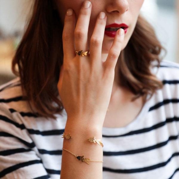 Grizzly cheri - bracelet carpe koï doré