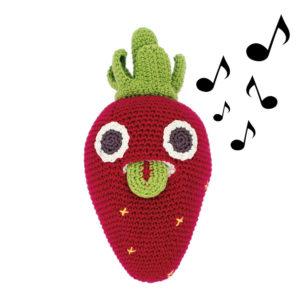 Myum- fraise en crochet- boite à musique
