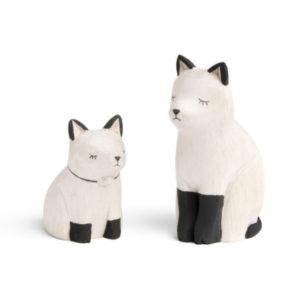T-lab- famille de chat siamois en bois