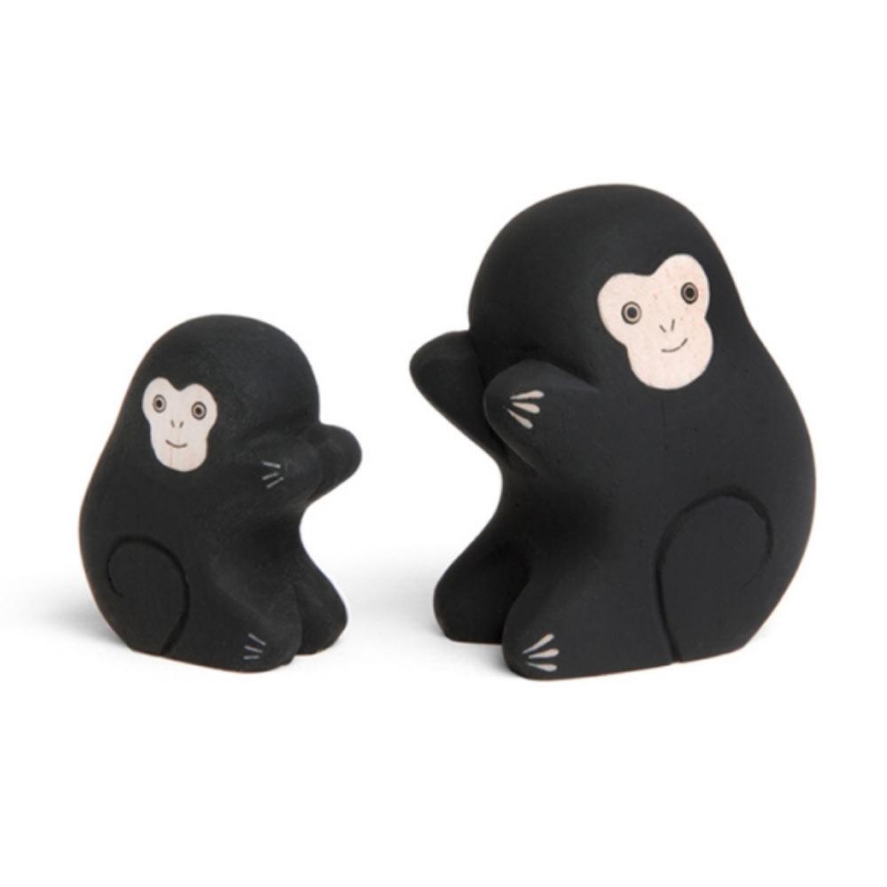 T-lab- famille de singe en bois