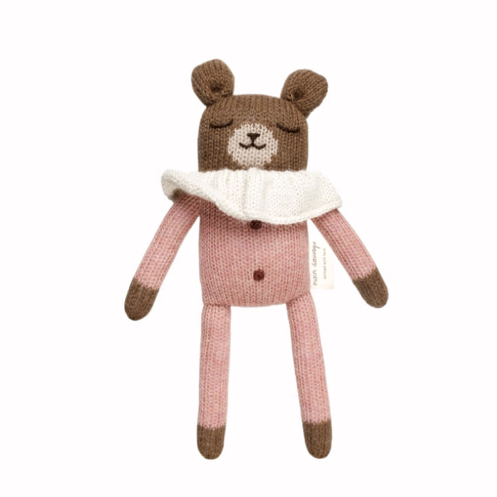 main-sauvage doudou ourson rose