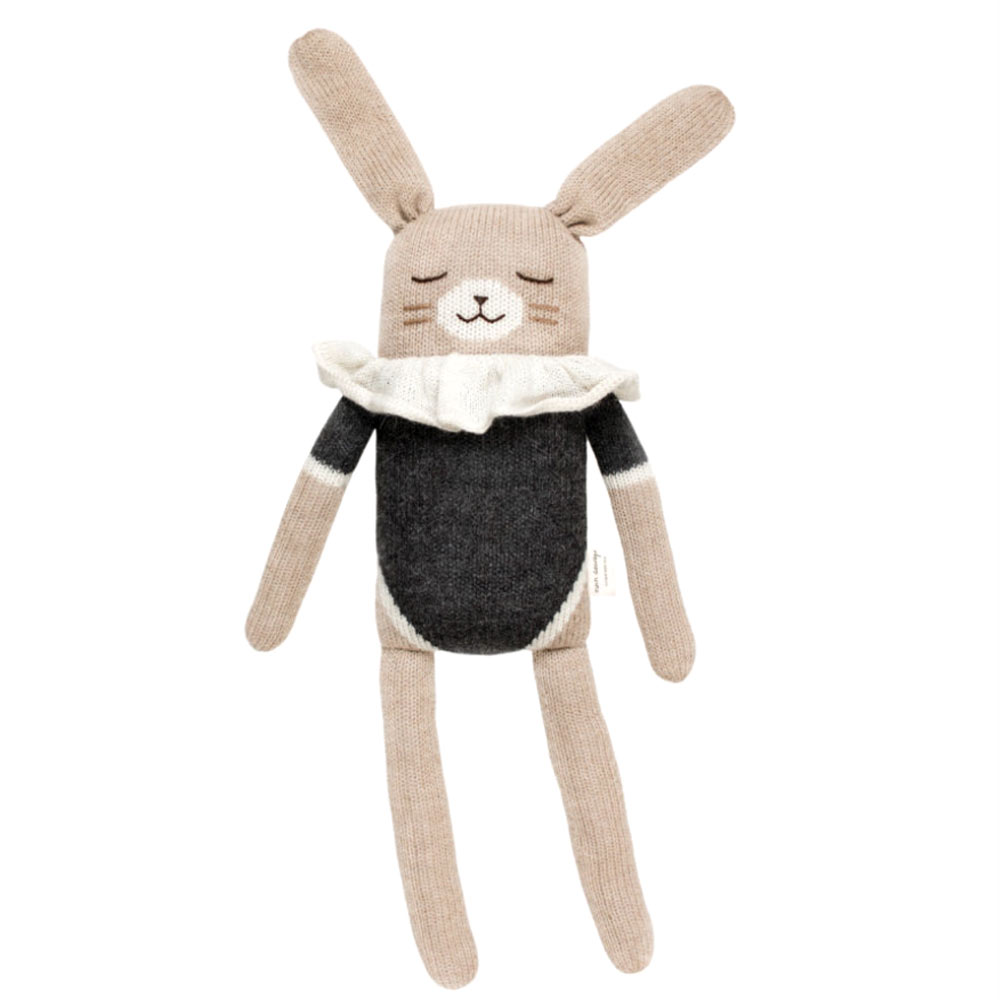 main-sauvage - grand doudou lapin noir