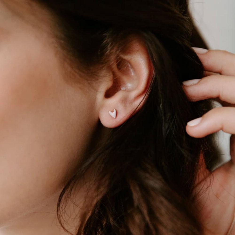 boucle d'oreilles petit coeur rose - grizzly chéri