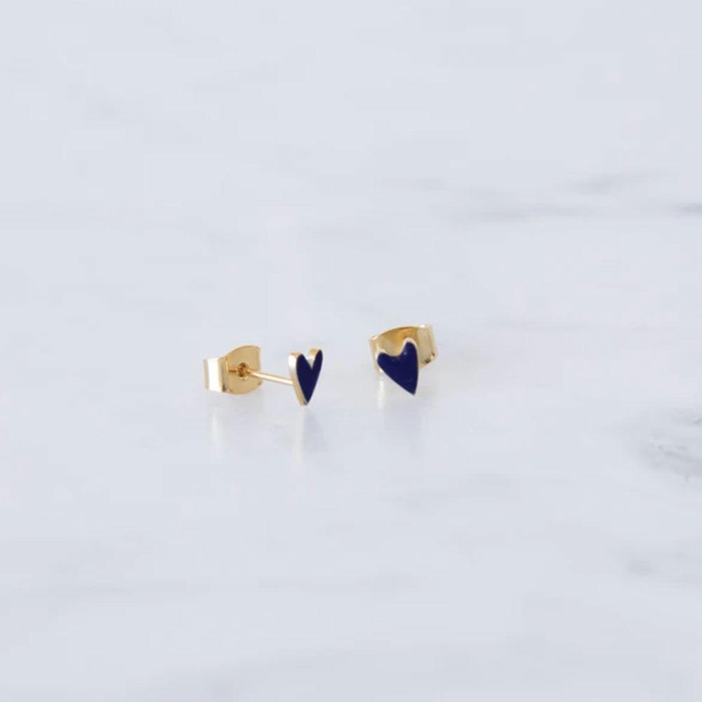 boucle d'oreilles coeur bleu marine - grizzly chéri