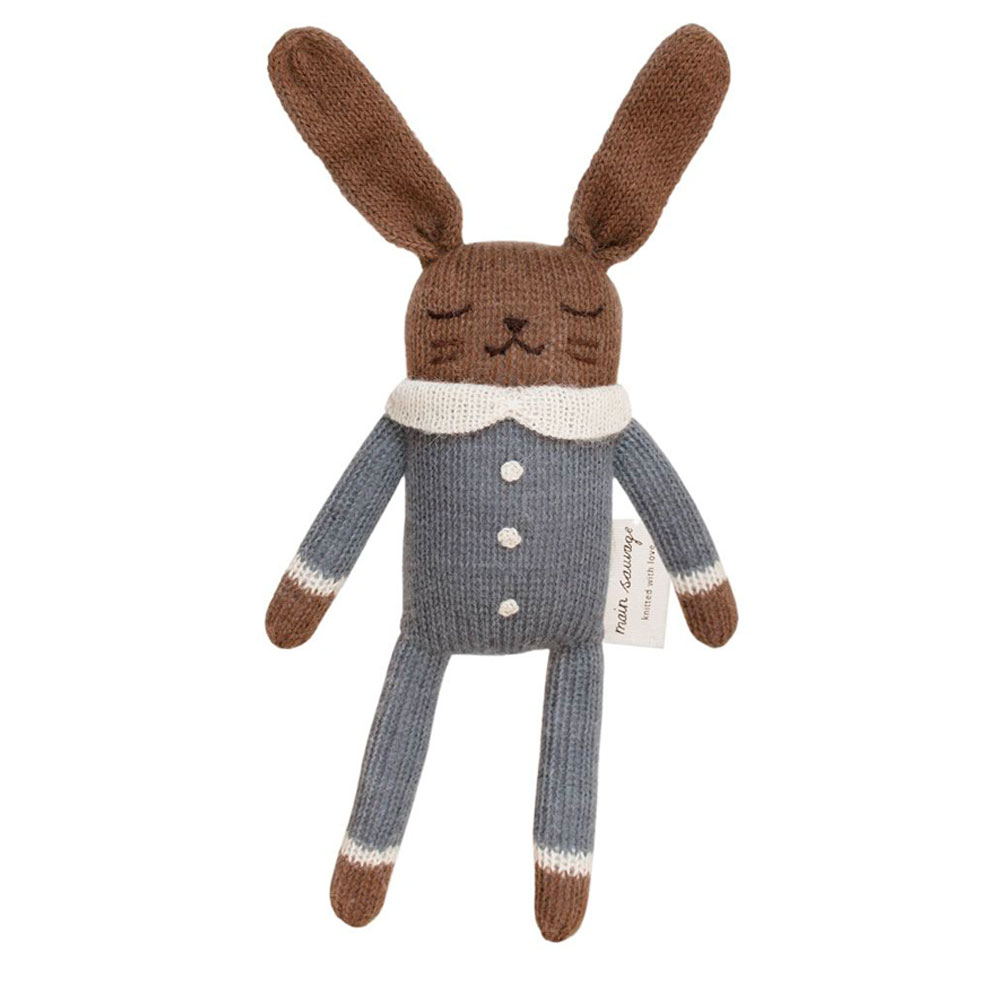 doudou lapin bleu - laine d'alpaga - Main sauvage