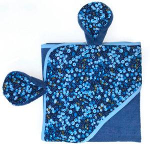 serviette de bain bleu marine - bambou