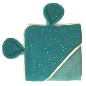serviette de bain bleu vert - bambou