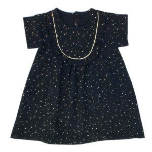 robe noire gaze de coton pois dorés - Les folies douces