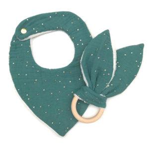 bavoir et hochet bébé gaze de coton bleu vert