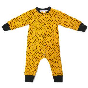 combinaison pyjama moutarde pois noir