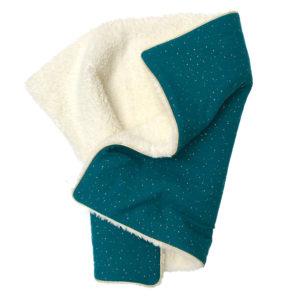 Couverture bébé toute douce hiver gaz de coton fausse fourrure couleur bleu canard
