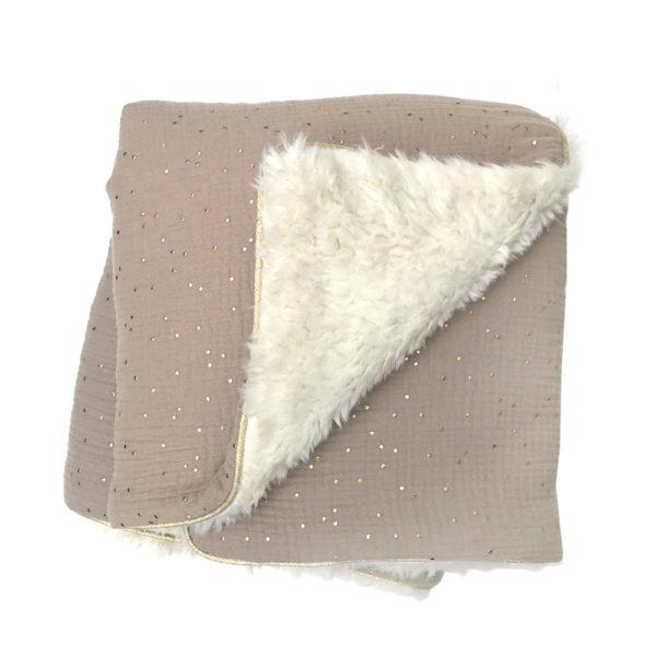 Couverture bébé toute douce hiver gaz de coton fausse fourrure grise