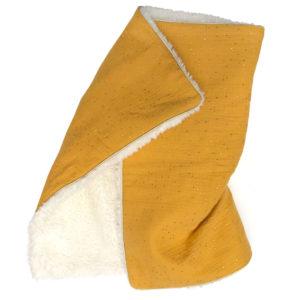 Couverture bébé toute douce hiver gaz de coton fausse fourrure couleur moutarde