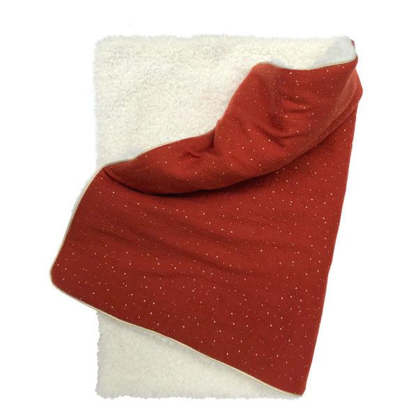 Couverture bébé toute douce hiver gaz de coton fausse fourrure couleur rouille