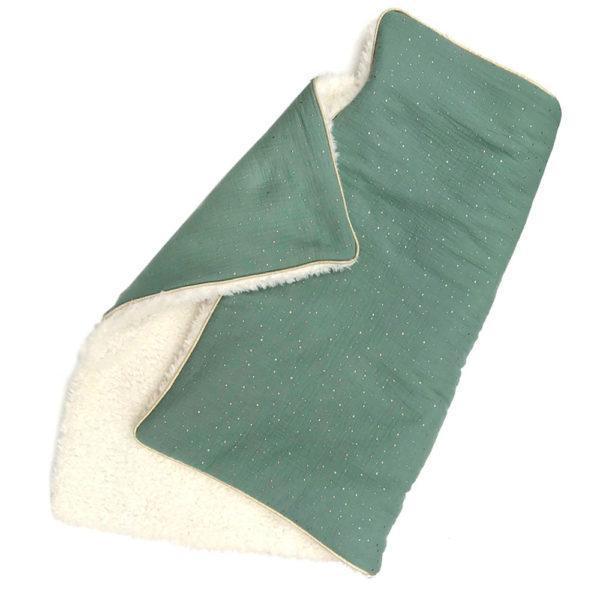 Couverture bébé toute douce hiver gaz de coton fausse fourrure couleur vert d'eau