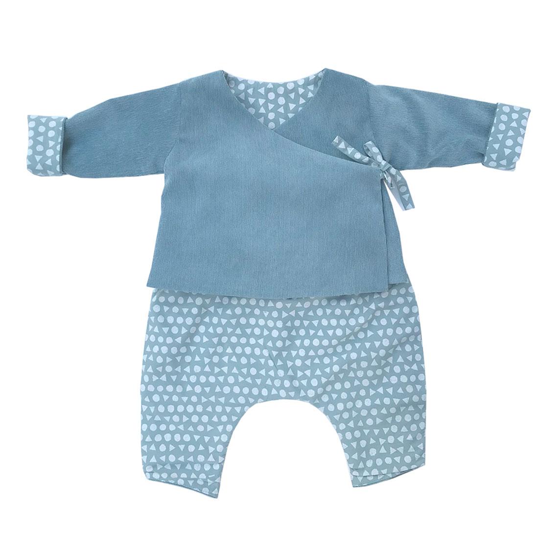 ensemble kimono bébé bleu ciel