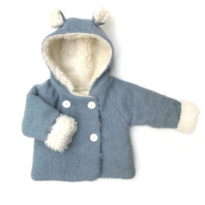 manteau bébé laine bouclette bleu ciel fausse fourrure