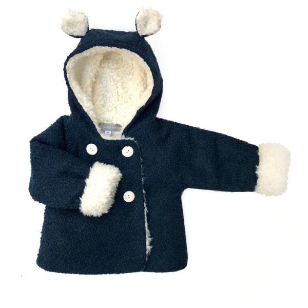 manteau bébé laine bouclette bleu marine fausse fourrure