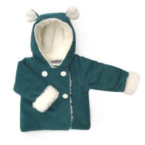 manteau bébé velours canard fausse fourrure