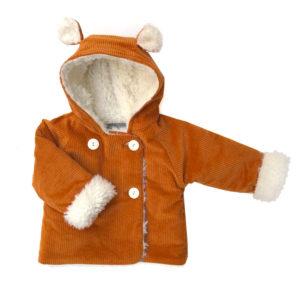 manteau bébé velours moutarde fausse fourrure