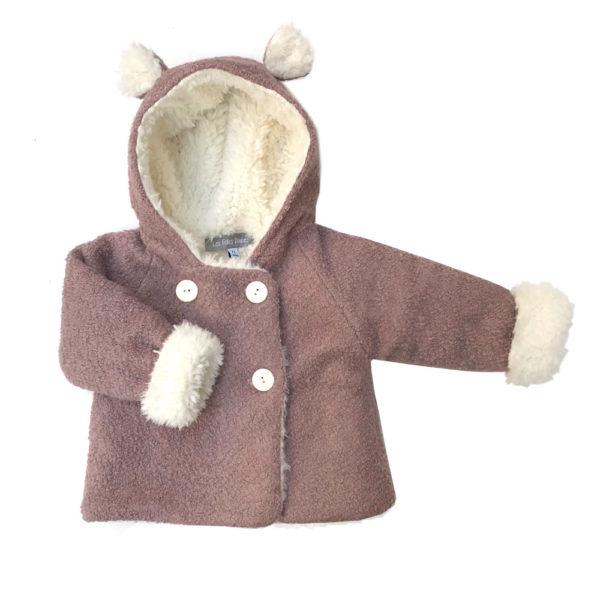 manteau bébé laine bouclette vieux rose fausse fourrure