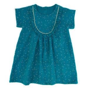 robe fille bleu canard gaze de coton pois dorés