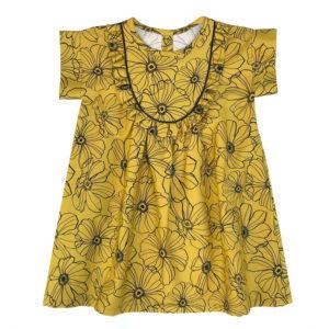 robe enfant jaune à fleurs