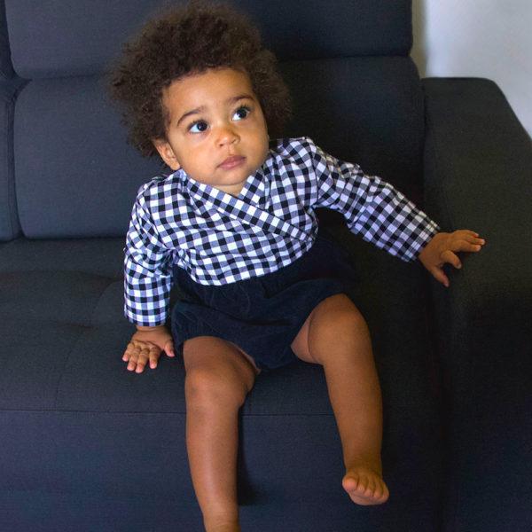 bloomer bébé noir à carreaux