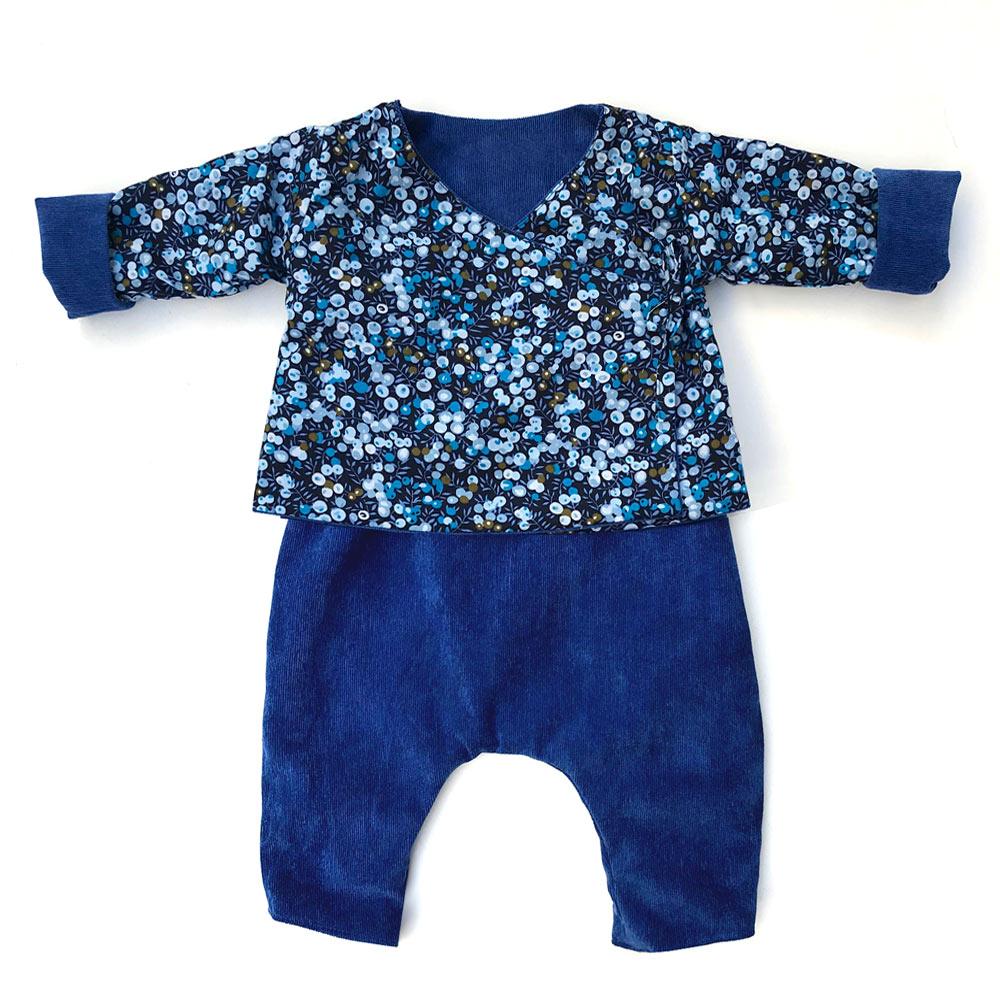 ensemble kimono bébé bleu électrique velours