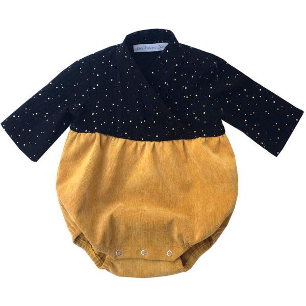 bloomer bébé velours moutarde et noir